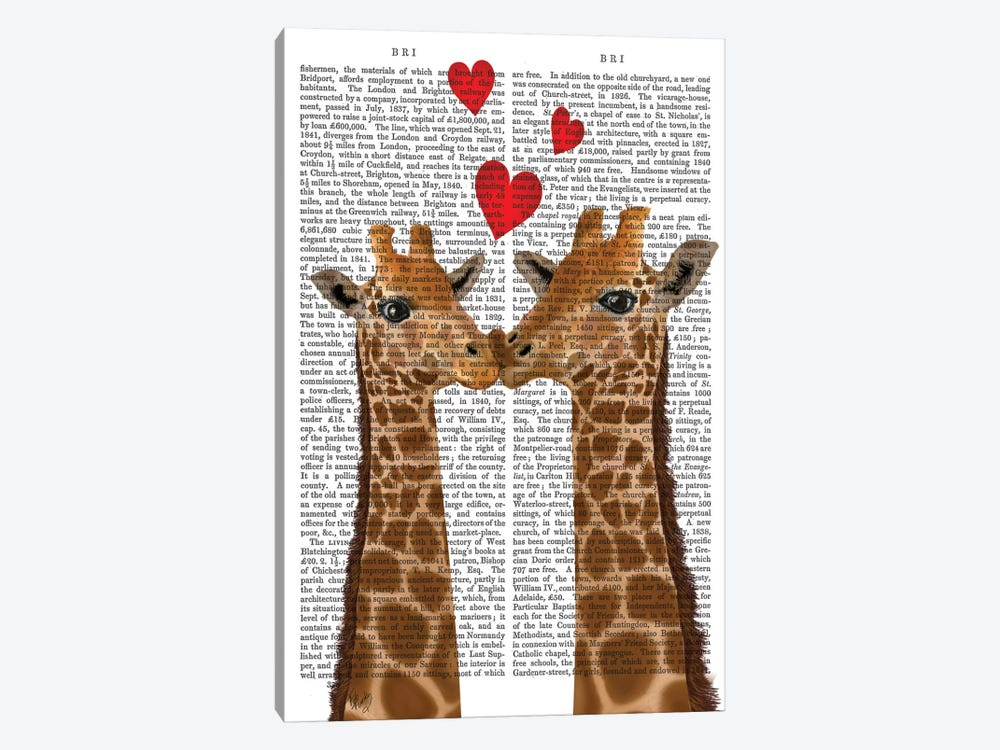 Giraffe Love by Fab Funky 1-piece Canvas Art