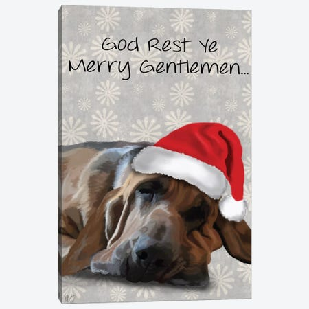 God Rest Ye Bloodhound Canvas Print #FNK322} by Fab Funky Art Print