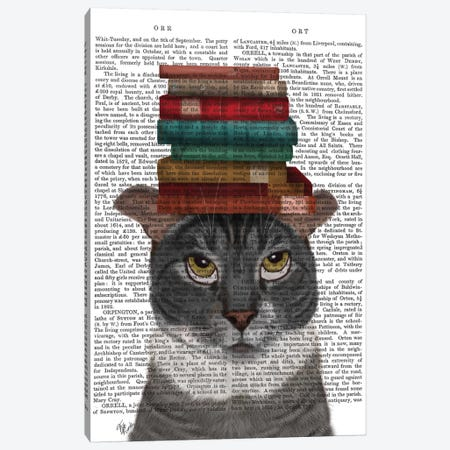 Grey Cat With Books On Head I Canvas Print #FNK325} by Fab Funky Canvas Wall Art