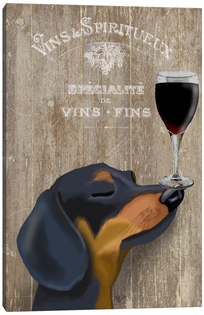 Dog Au Vine Dachshund Canvas Art Print