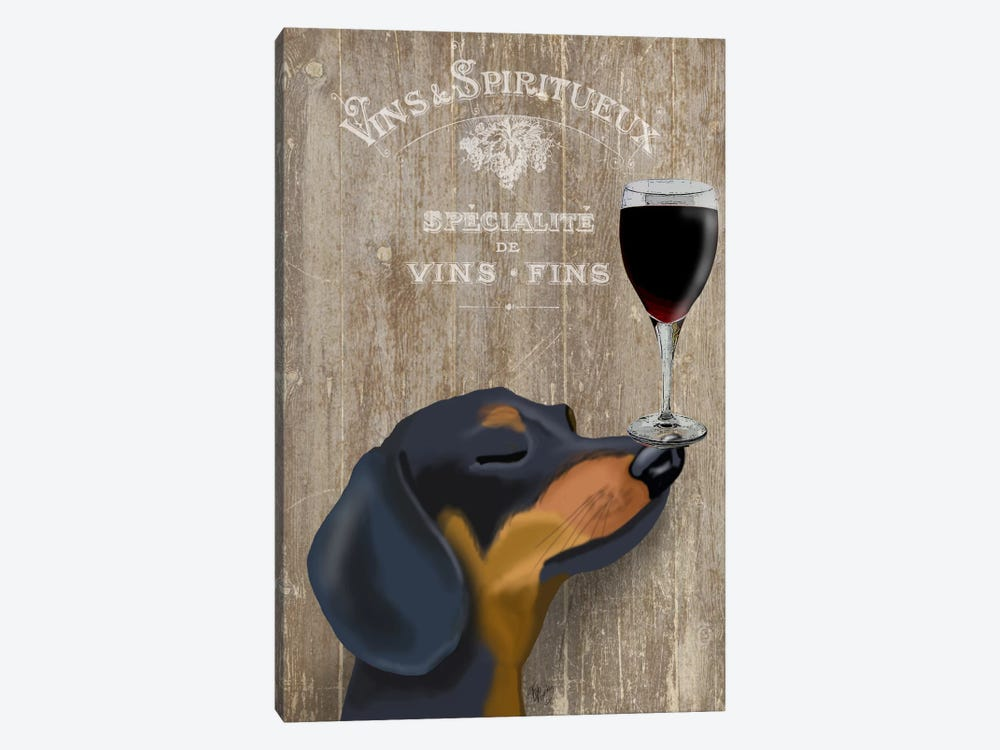 Dog Au Vine Dachshund by Fab Funky 1-piece Art Print