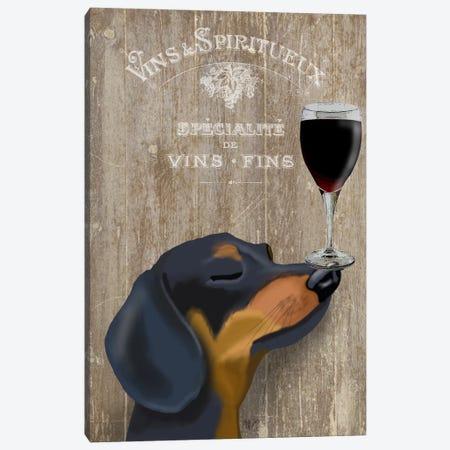 Dog Au Vine Dachshund Canvas Print #FNK32} by Fab Funky Canvas Wall Art