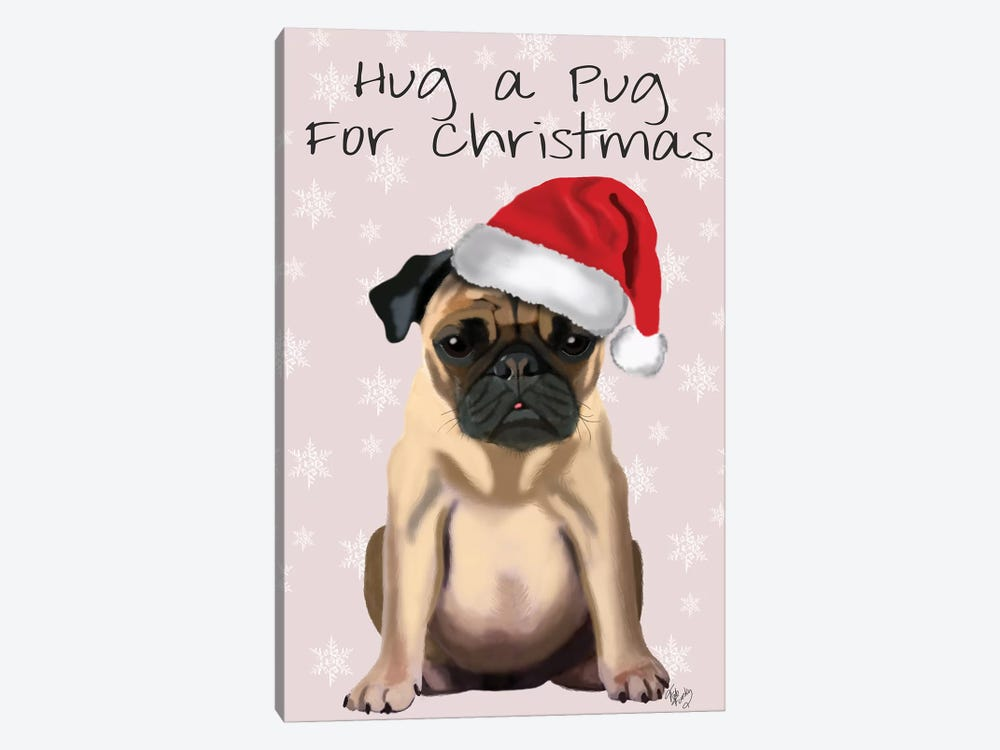 Hug A Pug For Christmas by Fab Funky 1-piece Canvas Art
