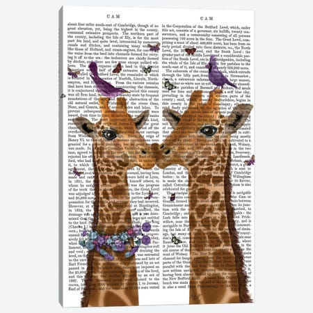 Kissing Giraffes With Birds I Canvas Print #FNK334} by Fab Funky Art Print