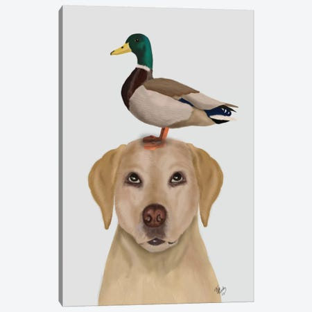 Labrador And Duck II Canvas Print #FNK336} by Fab Funky Canvas Art Print
