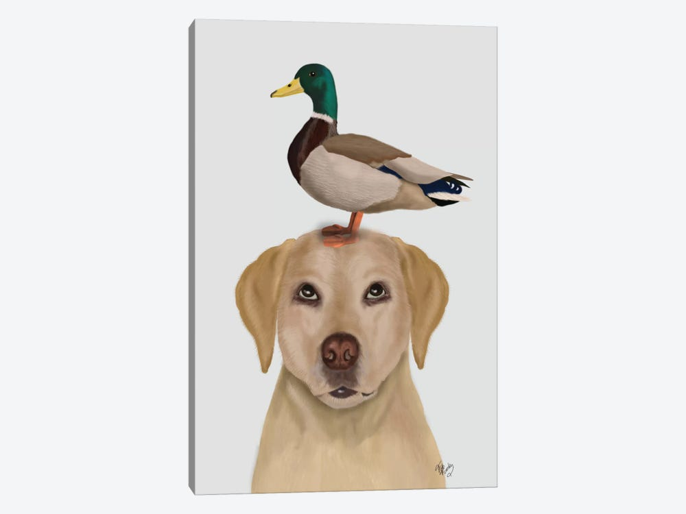Labrador And Duck II by Fab Funky 1-piece Art Print