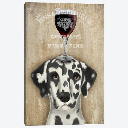 Dog Au Vine Dalmatian Canvas Print #FNK33} by Fab Funky Canvas Wall Art