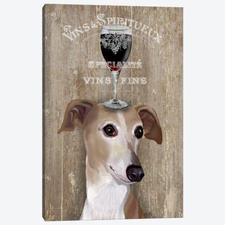 Dog Au Vine Greyhound Canvas Print #FNK34} by Fab Funky Canvas Art Print