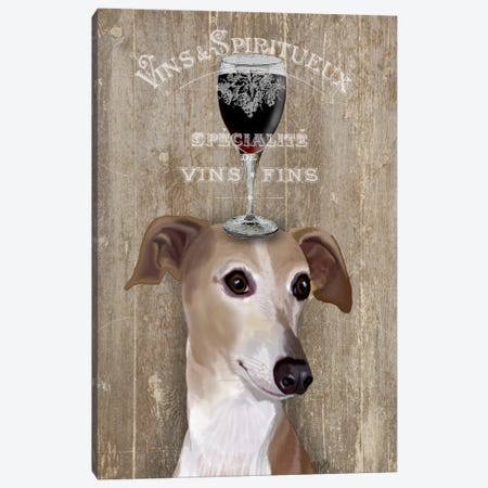 Dog Au Vine Greyhound Canvas Print #FNK34} by Fab Funky Canvas Art Print