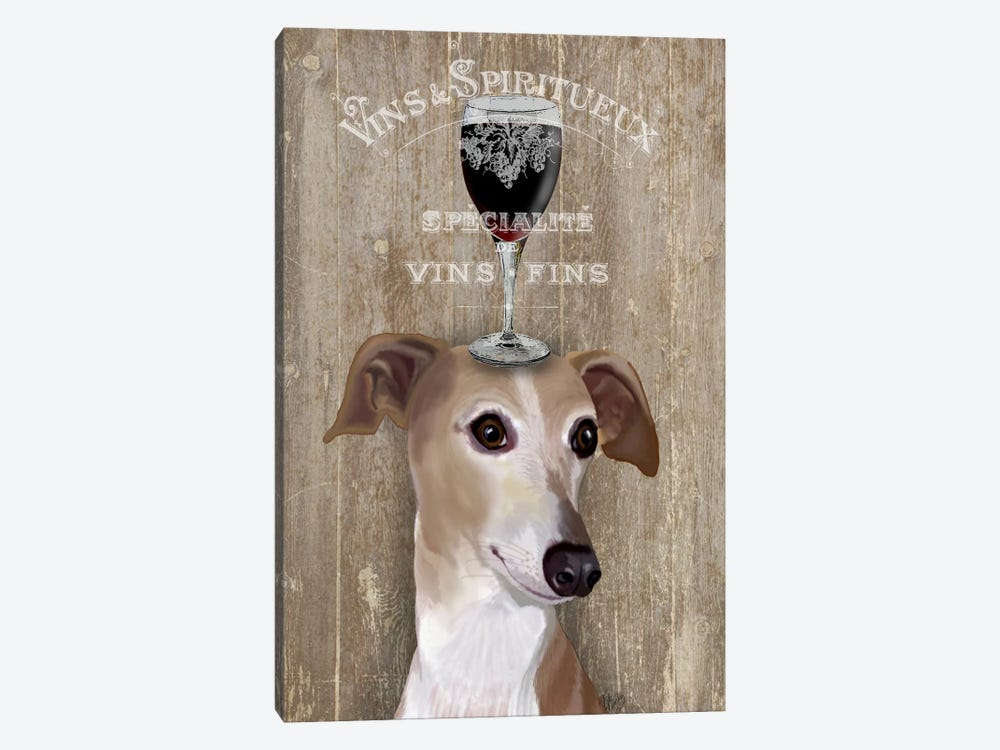 Dog Au Vine Greyhound by Fab Funky 1-piece Canvas Print