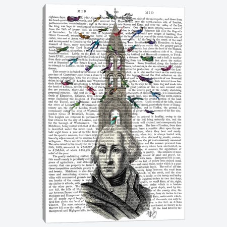 Man With Bird Tower I Canvas Print #FNK351} by Fab Funky Canvas Wall Art