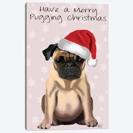 Merry Pugging Christmas Canvas Print #FNK352} by Fab Funky Canvas Artwork