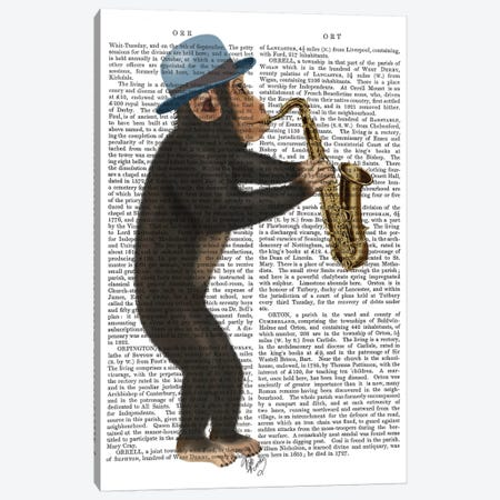 Monkey Playing A Saxophone I Canvas Print #FNK357} by Fab Funky Art Print