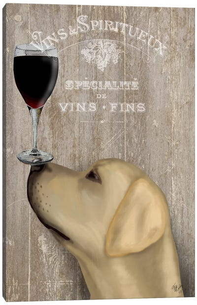 Dog Au Vine Yellow Labrador Canvas Art Print