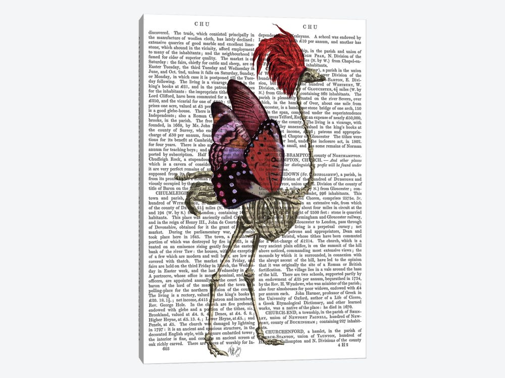 Ostrich Skeleton I by Fab Funky 1-piece Canvas Wall Art
