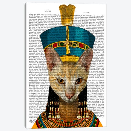 Egyptian Queen Cat Canvas Print #FNK37} by Fab Funky Canvas Print