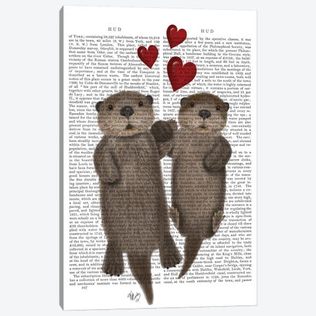 Otters Holding Hands I Canvas Print #FNK380} by Fab Funky Art Print