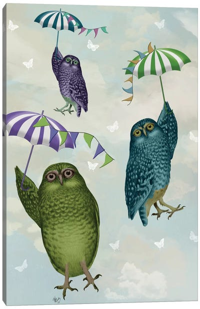 Owls With Umbrellas II Canvas Art Print