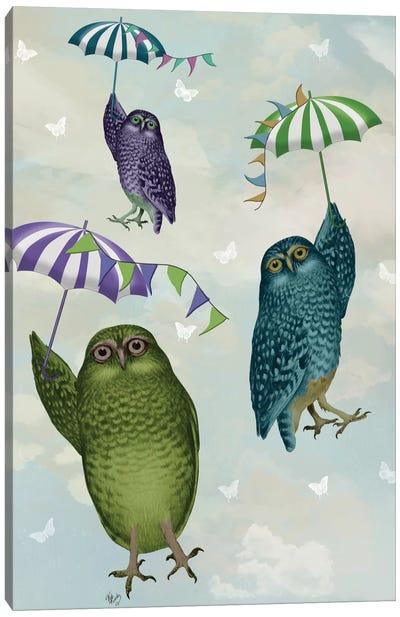 Owls With Umbrellas II Canvas Print #FNK384