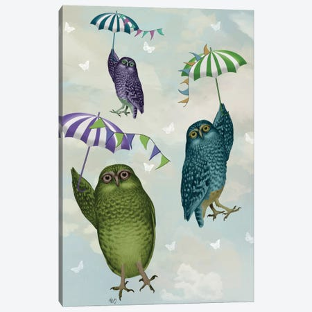Owls With Umbrellas II Canvas Print #FNK384} by Fab Funky Canvas Wall Art