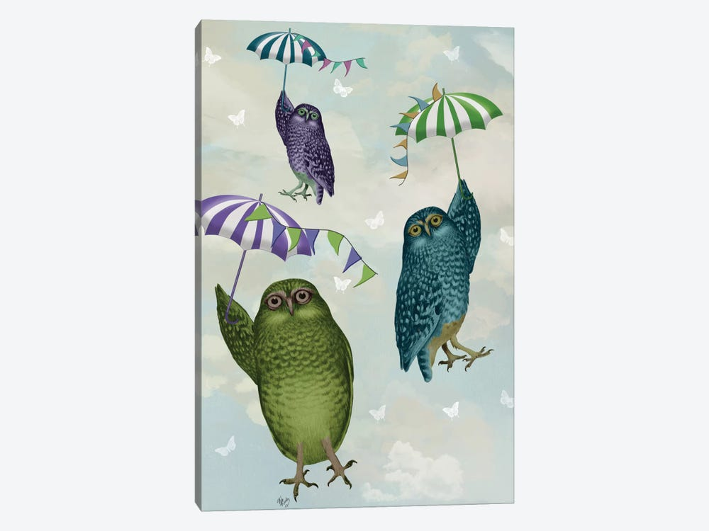 Owls With Umbrellas II by Fab Funky 1-piece Canvas Artwork