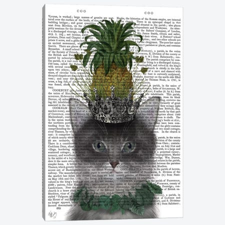 Pineapple Puss I Canvas Print #FNK396} by Fab Funky Art Print