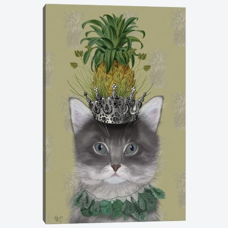 Pineapple Puss II Canvas Print #FNK397} by Fab Funky Canvas Art Print