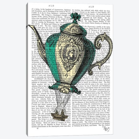 Flying Teapot I Canvas Print #FNK39} by Fab Funky Canvas Art