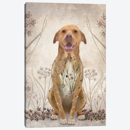Pit Bull With Floral Tattoo II Canvas Print #FNK403} by Fab Funky Canvas Artwork