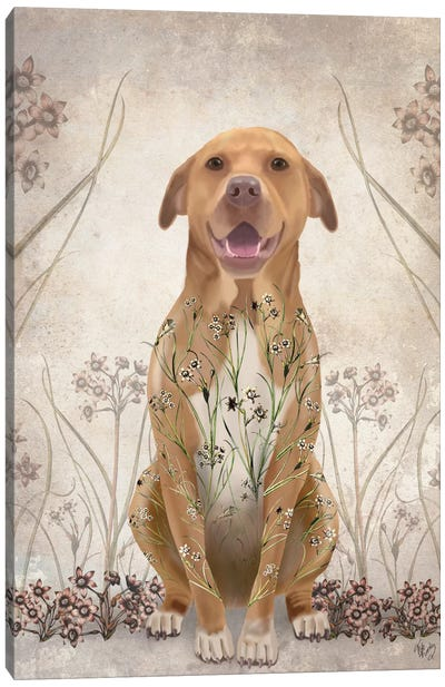 Pit Bull With Floral Tattoo II Canvas Print #FNK403