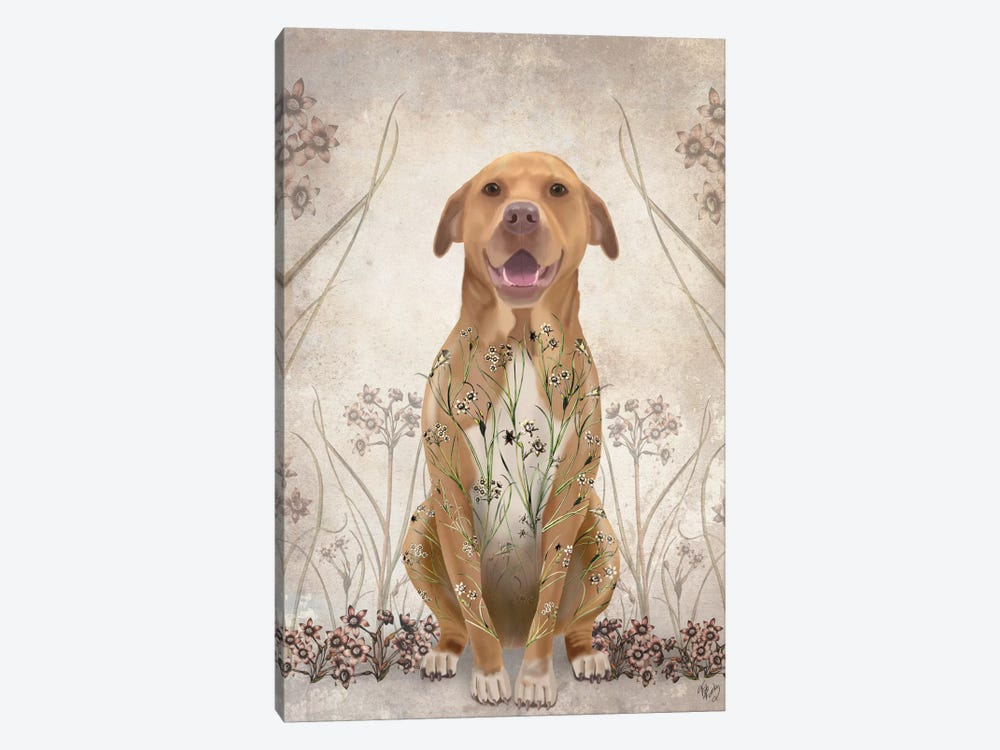 Pit Bull With Floral Tattoo II by Fab Funky 1-piece Canvas Artwork