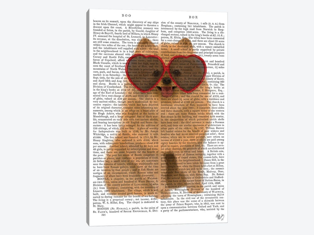 Pomeranian And Heart Glasses I by Fab Funky 1-piece Canvas Artwork