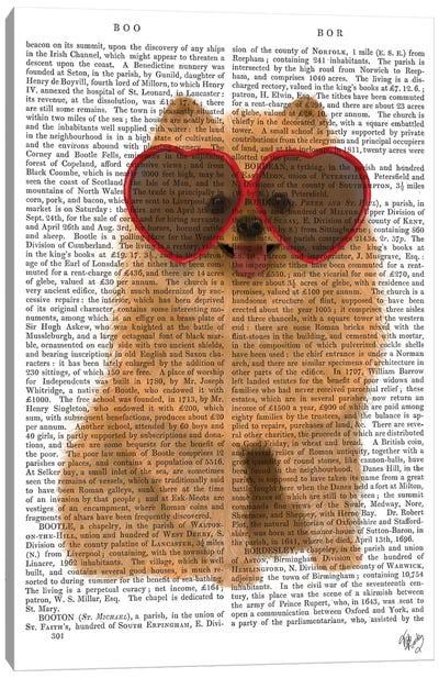 Pomeranian And Heart Glasses I Canvas Art Print