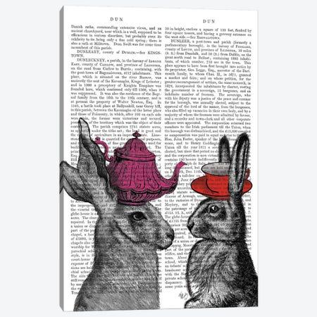 Rabbit Tea Time I Canvas Print #FNK419} by Fab Funky Canvas Art Print