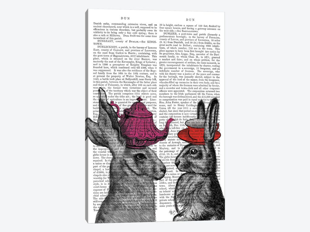 Rabbit Tea Time I by Fab Funky 1-piece Art Print