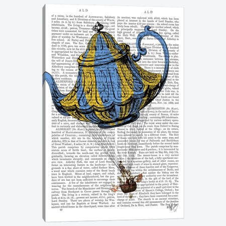 Flying Teapot III Canvas Print #FNK41} by Fab Funky Canvas Art Print
