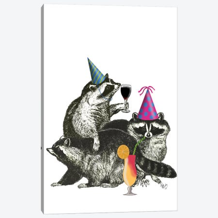 Raccoon Party II Canvas Print #FNK422} by Fab Funky Canvas Wall Art
