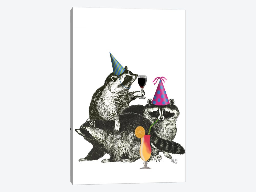 Raccoon Party II by Fab Funky 1-piece Canvas Print