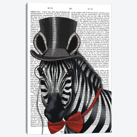 Sideways Zebra With Top Hat And Bow Tie I Canvas Print #FNK423} by Fab Funky Canvas Wall Art