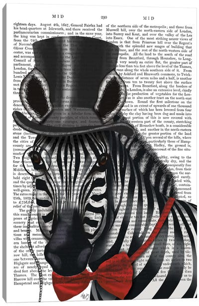 Sideways Zebra With Top Hat And Bow Tie I Canvas Print #FNK423