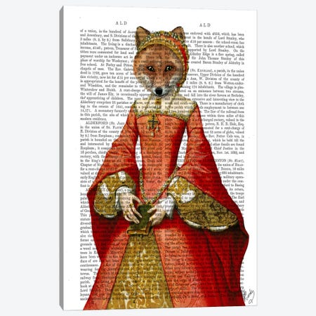 Fox Queen Canvas Print #FNK42} by Fab Funky Canvas Print