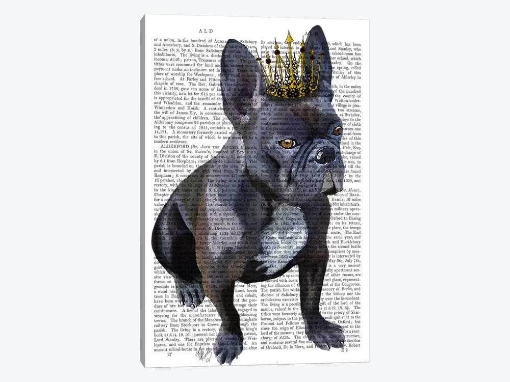 French Bulldog King by Fab Funky 1-piece Canvas Print