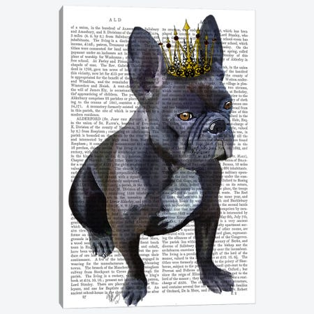 French Bulldog King Canvas Print #FNK43} by Fab Funky Canvas Art Print