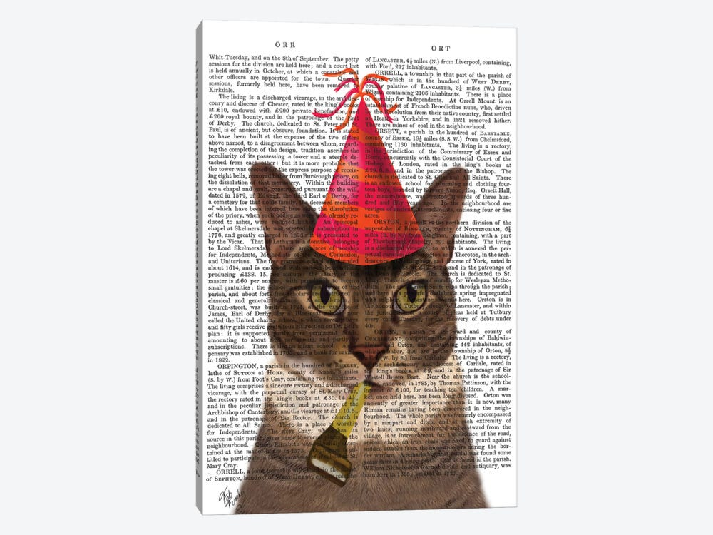 Tortoiseshell Cat With Party Hat I by Fab Funky 1-piece Canvas Print
