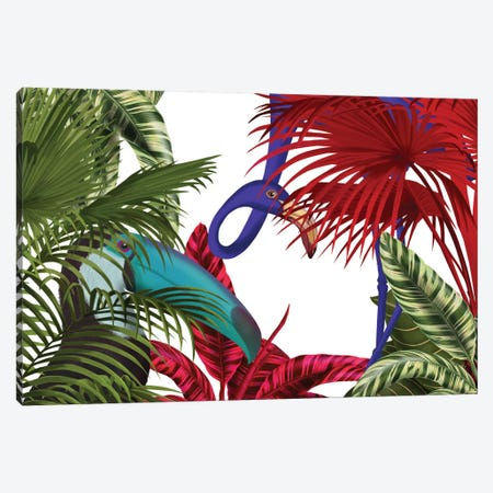 Toucan And Flamingo II Canvas Print #FNK442} by Fab Funky Canvas Wall Art