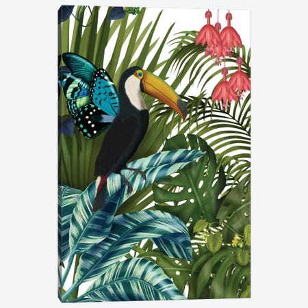 Toucan In Tropical Forest II Canvas Print #FNK443} by Fab Funky Canvas Art