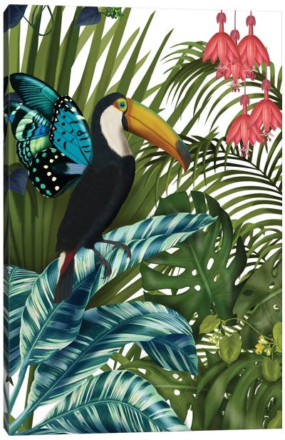 Toucan In Tropical Forest II Canvas Art Print