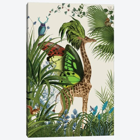 Tropical Giraffe I Canvas Print #FNK447} by Fab Funky Canvas Art Print