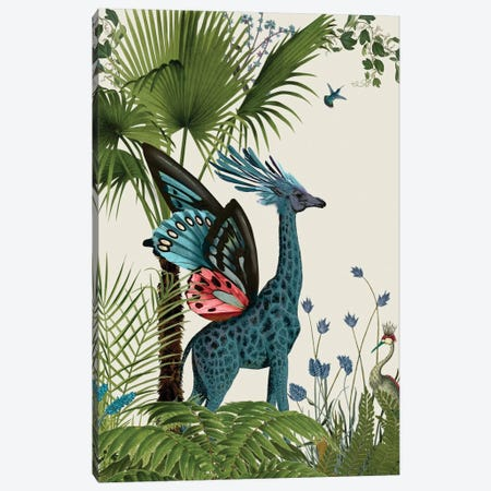 Tropical Giraffe II Canvas Print #FNK448} by Fab Funky Canvas Artwork