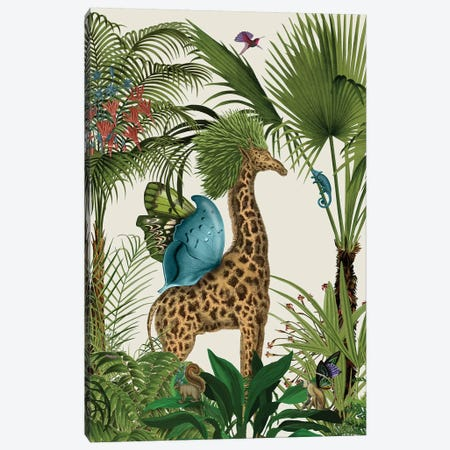 Tropical Giraffe V Canvas Print #FNK454} by Fab Funky Canvas Art